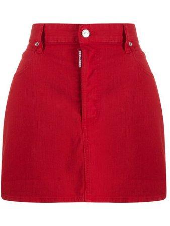 Dsquared2 Icon Logo Mini Denim Skirt S80MA0002S39781 Red | Farfetch