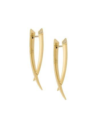 Gold Shaun Leane Sabre diamond crossover earrings - Farfetch