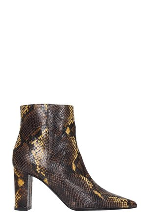 Marc Ellis High Heels Ankle Boots In Brown Leather