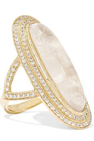 Jacquie Aiche | 14-karat gold, moonstone and diamond ring | NET-A-PORTER.COM