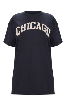 Red Chicago Slogan Oversized T Shirt   Tops   PrettyLittleThing USA
