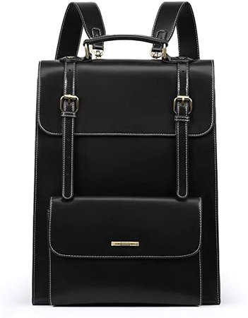 ECOSUSI Laptop Backpack for Women PU Leather Backpack Vintage
