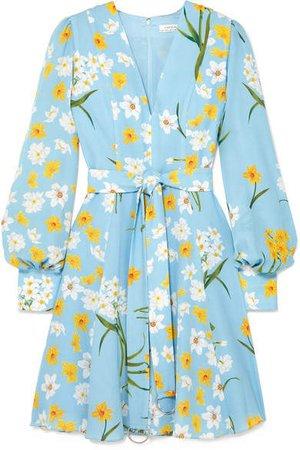Belted Floral-print Silk Mini Dress - Blue