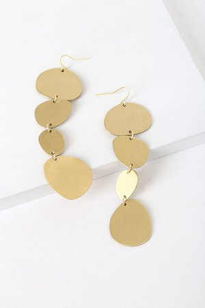 Chic Gold Earrings - Geometric Earrings - Drop Earrings