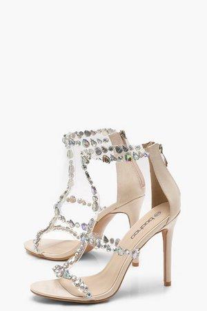 Patent Embellished Cage Heel Sandals   Boohoo