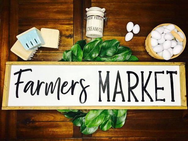 Farmers Market Farmhouse Wooden Sign | Etsy