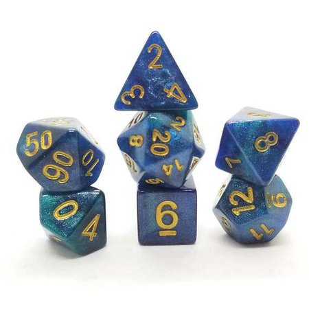 DND Dice Set Blue Green Glitter dnd gift ideas d&d dice
