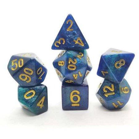 DND Dice Set Blue Green Glitter dnd gift ideas d&d dice