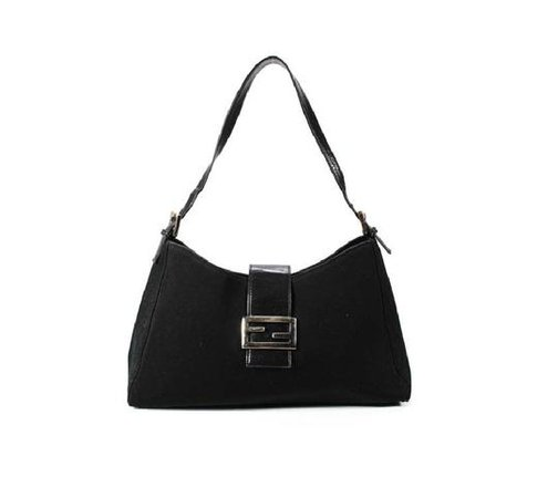 Fendi 'mamma Zucco' Purses Black Canvas and Black Leather with Chrome Accents Shoulder Bag - Tradesy