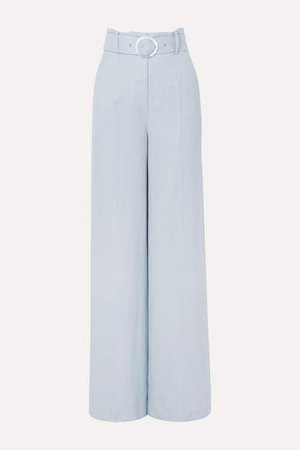 Lily Belted Woven Wide-leg Pants - Sky blue