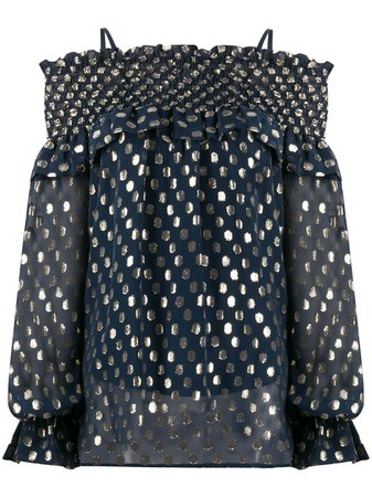P.A.R.O.S.H. Polka Dot Off Shoulder Blouse - Farfetch
