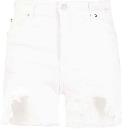 distressed-effect denim shorts