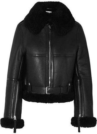 Raf Leather-trimmed Shearling Jacket - Black