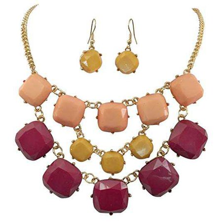 Amazon.com: 3 Row Squares Multi Color Gold Tone Bib Statement Necklace Earrings Set (Maroon Yellow Peach): Jewelry