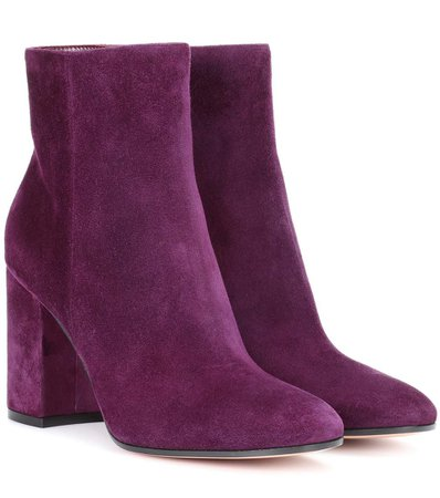 Gianvito Rossi Rolling 85 Suede Ankle Boots In Purple