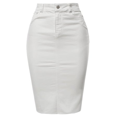 A2Y - A2Y Women's Slim Fit Rayon Knee Length Back Slit Denim Jean Pencil Skirt White S - Walmart.com - Walmart.com