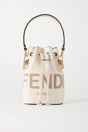 White Mon Trésor debossed leather bucket bag | Fendi | NET-A-PORTER
