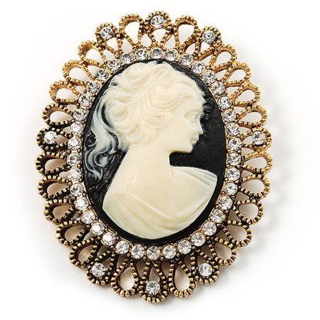 Vintage Antique Gold Cameo Crystal Brooch | eBay