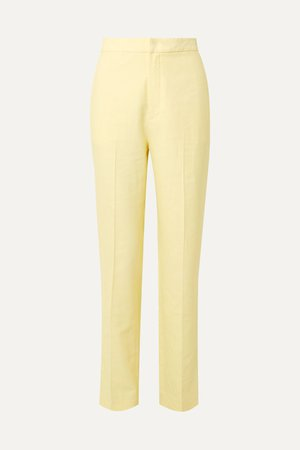 Pastel yellow Sebastian twill straight-leg pants | Tibi | NET-A-PORTER