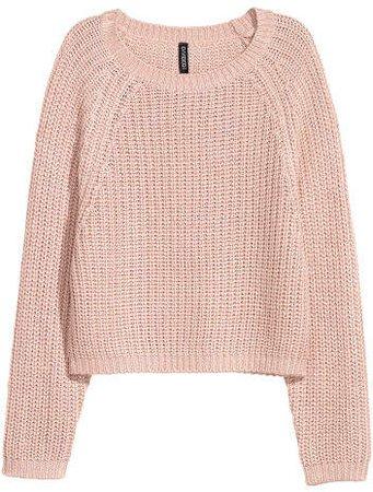 Rib-knit Sweater - Pink