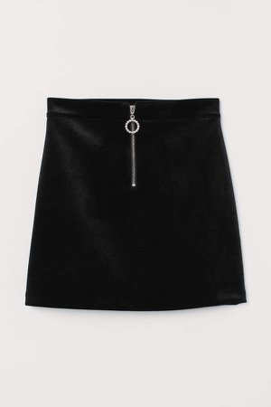 Velour Skirt with Zip - Black