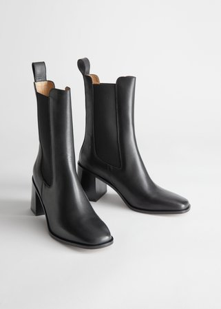 Heeled Leather Chelsea Boots - Black - Chelseaboots - & Other Stories