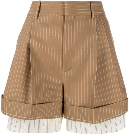 high-waisted pinstriped shorts