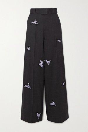 Black Belted embroidered wool wide-leg pants | GANNI | NET-A-PORTER