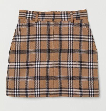 H&M Brown Plaid Mini Skirt