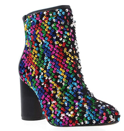 Amazon.com: Women's Sparkle Round Toe Cylindrical Heel Bling Bling Sequins Ankle Boots Comfortable Party Stage Shoes (5.5 M US, black): Clothing