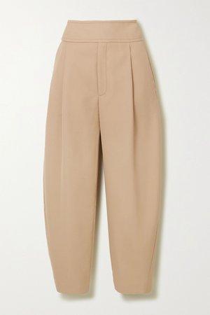 Beige Lombardy cropped pleated grain de poudre straight-leg pants | Totême | NET-A-PORTER