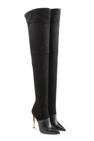 Thigh-high Stiletto Boots in Leather and Suede Gr. IT 37.5