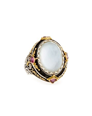 Konstantino North-South Pink Crystal Quartz Over Sapphire, Tourmaline, & Mother-of-Pearl Ring