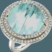 aqua and diamond ring in white gold