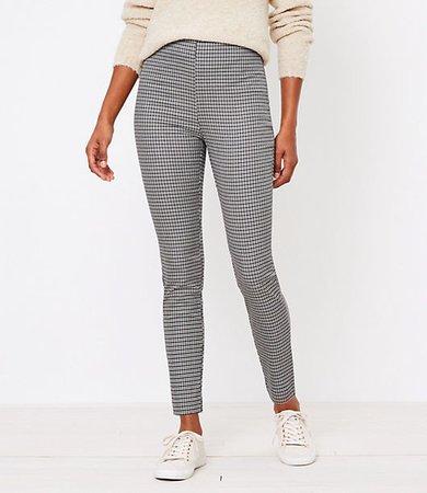 Petite Curvy Side Zip High Waist Skinny Leggings in Check