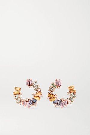 Rose gold 18-karat rose gold, sapphire and diamond hoop earrings | Suzanne Kalan | NET-A-PORTER