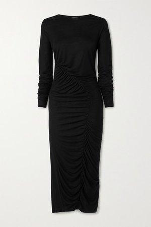 Ruched Tencel Midi Dress - Black