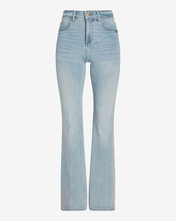 High Waisted Supersoft Light Wash Curvy Flare Jeans | Express