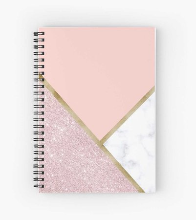 """Elegant geometric rose gold glitter white marble"" Spiral Notebooks by NaughtyCat 