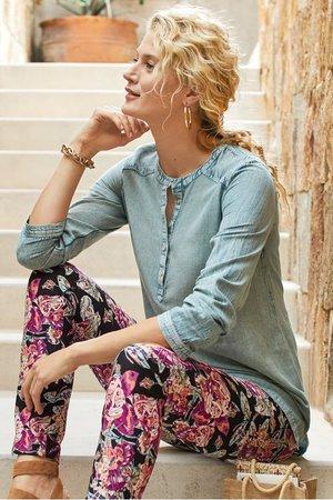 Pomela Tunic - Mandarin Collar Tunic | Soft Surroundings