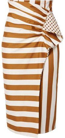 Silvia Tcherassi - Scilla Printed Cotton-blend Poplin Wrap-effect Midi Skirt - Brown