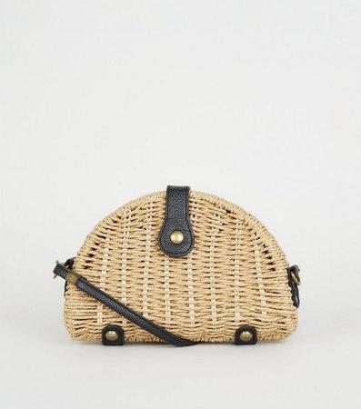 Stone Woven Straw Cross Body Bag | New Look