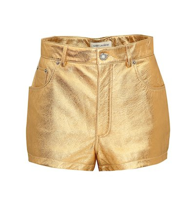 Metallic leather shorts
