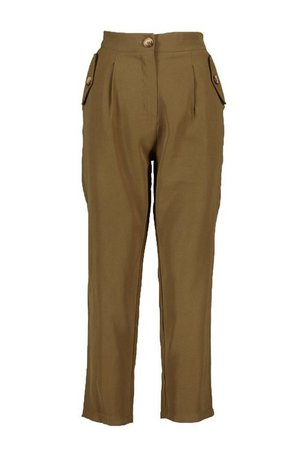 Mock Horn Button Pocket Trouser | boohoo khaki