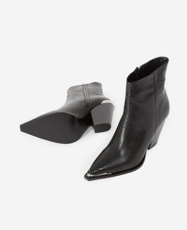 Snakeskin-effect leather black heeled boots | The Kooples