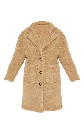 Camel Borg Longline Coat | Coats & Jackets | PrettyLittleThing