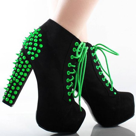 Black Neon Green Suede Spike Stud Lace Up Chunky Ankle Boots