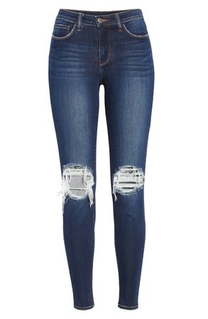 L'AGENCE Margot Ripped Skinny Jeans (Baltic Destruct) | Nordstrom