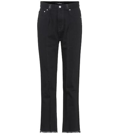 Distressed high-rise straight jeans
