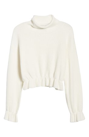 MINKPINK All My Friends Frill Hem Ribbed Sweater | Nordstrom